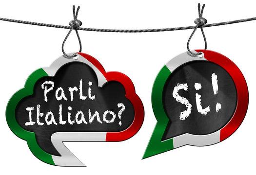 Parli Italiano - Speech Bubbles / Two speech bubbles with Italian flag and text Parli Italiano? Si! (Do you speak Italian?). Isolated on white