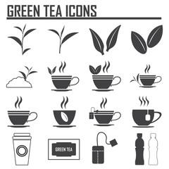 Green tea symbols and icons