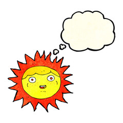 sun cartoon character with thought bubble