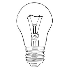 Hand-drawn light bulb on white background. EPS8 vector