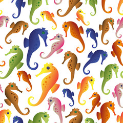 various color seahorses icons set seamless pattern eps10
