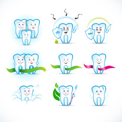 Cartoon tooth, teeth icon set, cartoon characters. Family, protecting, couple, with ribbons, with toothbrush, with caries. Dental clinic logo templates. Medical logotypes,   illustrations.