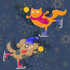 The cat and the dog with sparklers skate on abstract background with snowflakes