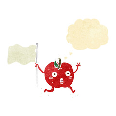 cartoon funny apple with flag with thought bubble