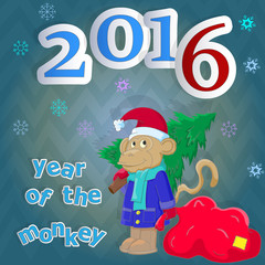 Congratulations to the new 2016 year ,with funny monkey