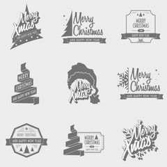 Set of Merry christmas and happy new year posters, greeting cards or logo concepts