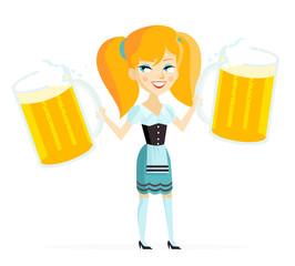 mujer europea con dos jarras de cerveza
