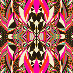 Traditional ornamental paisley bandanna. Hand drawn background with artistic pattern. Bright colors.