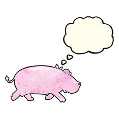 cartoon hippopotamus with thought bubble