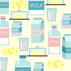 Milk icon with milk set pattern with text, vector illustration