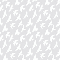 Seamless pattern of flying birds. Two colors.