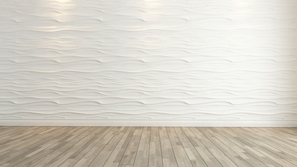 wave wall decoration with wooden floor rendering