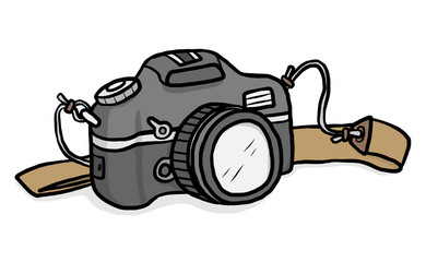 camera / cartoon vector and illustration, hand drawn style, isolated on white background.