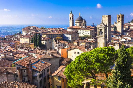 landmarks of Italy - beautiful medieval town Bergamo, Lombardy,