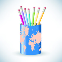 global pencil holder with a diverse array of pencils in it