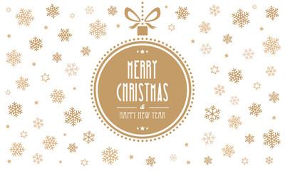 merry christmas gold ball snowflakes white background