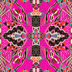 Traditional ornamental paisley bandanna. Hand drawn colorful aztec pattern with artistic pattern.
