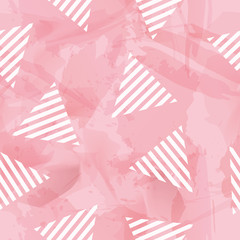 Vector Sweetie Triangle Seamless Pattern in Watercolor Background