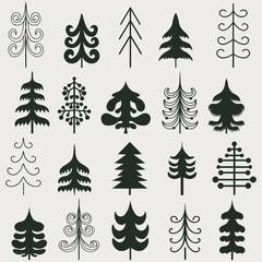 Set of christmas black trees isolated on white background.