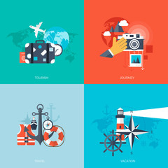 World travel concept backgrounds set.  Flat icons. Tourism