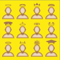 Male avatar profile icon set - head halos silhouette.