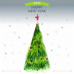Happy New Year Greeting Card with big Christmas tree , snowflake and  red star, vector illustration.