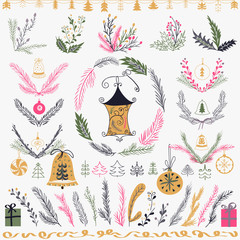 Set of Christmas hand drawn floral set. Design Elements, decoration, laurel, wreath and holidays.