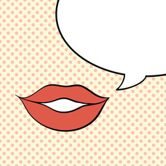 Pop art vector red lips with bubble for text.