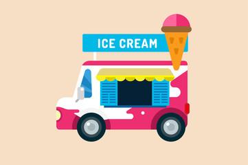 Ice cream vector truck van