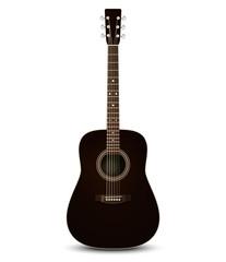 Black acoustic guitar. Vector illustration