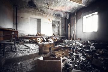 a ruined industrial building interior
