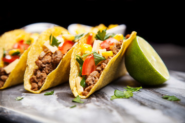 Delicious tacos with beef