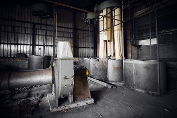 air cleaner machine in an abandoned factory building