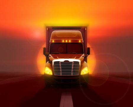 Freightliner cascadia truck moving fast on the road against the setting sun.