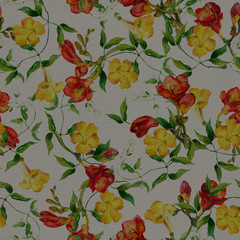 Yellow and red flowers pattern watercolor. Freesia, bindweed