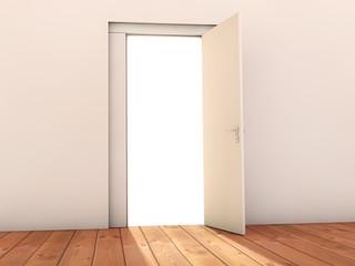 Open door and white background