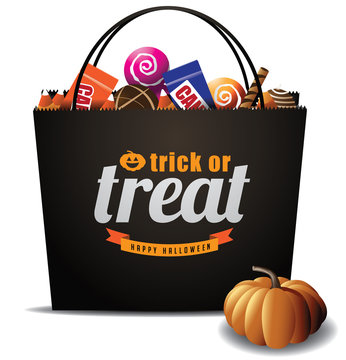 Trick or Treat Halloween bag royalty free stock illustration for greeting card, ad, promotion, poster, flier, blog, article, social media, marketing