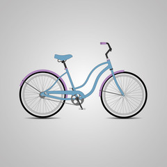 Blue bicycle.Vector Illustration.