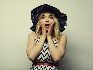 woman in  straw summer hat