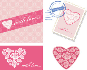 Decorative elements with pink hearts for event design