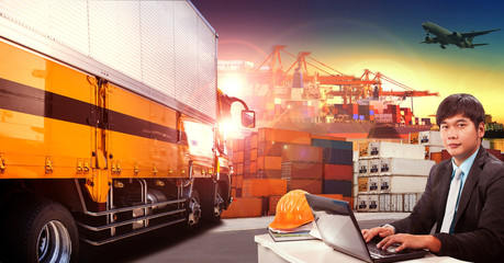 working man and container truck in shipping port ,container dock