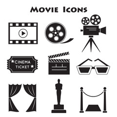 Set of Movie icons, vector.