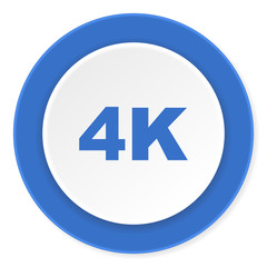 4k blue circle 3d modern design flat icon on white background
