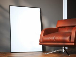 Blank frame in modern interior. 3d rendering