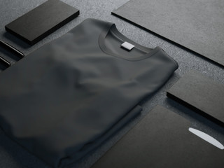 Dark mockup with blank t-shirt