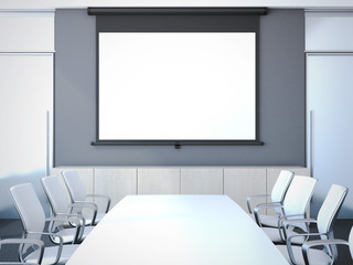 Meeting room with long table. 3d rendering