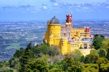 Panoramic view of Pena palace, Sintra, Portugal