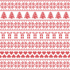 Scandinavian style, Nordic winter sweater stitch, knit pattern including star, Xmas tree, Xmas gift, heart element in red on white background in seamless style