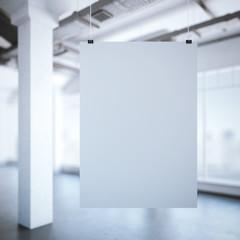 White poster in a modern loft interior. 3d rendering