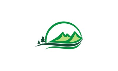 mountain hill pine tree logo
